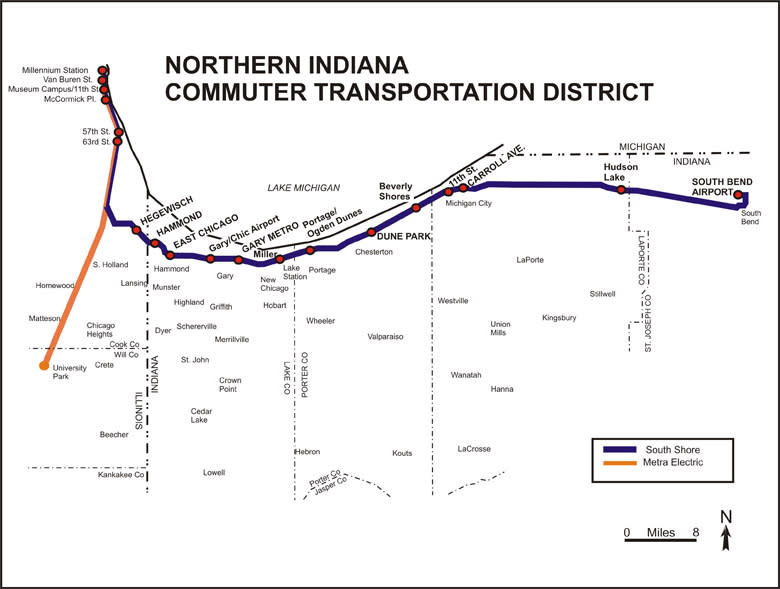Train In Chicago Map.Northwest Indiana Railroad Map South Shore Trains Schedules