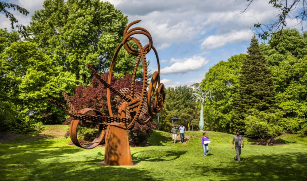 A large circular sculpture at Grounds for Sculpture in Hamilton, NJ.