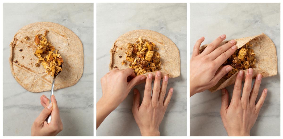 Rolling Breakfast Burritos - Step by Step 1-3
