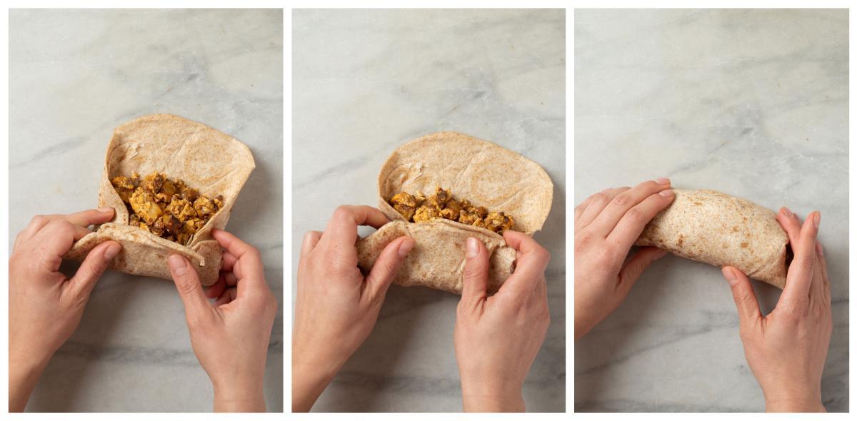 Rolling Breakfast Burritos - Step by Step 4-6