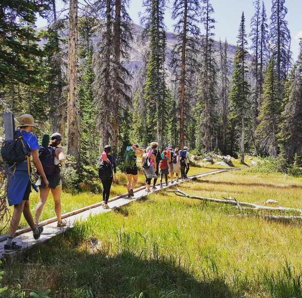 group of people hiking in forrest with yoga matts
