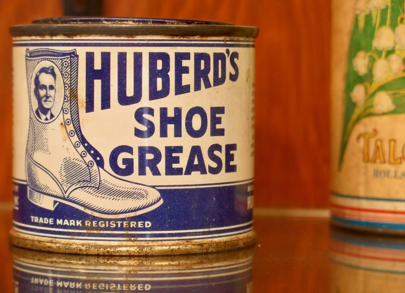 A tin of Huberd's Shoe Grease