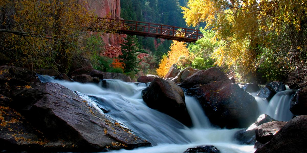 Waterfall at Eldorado Springs State Park in the fall