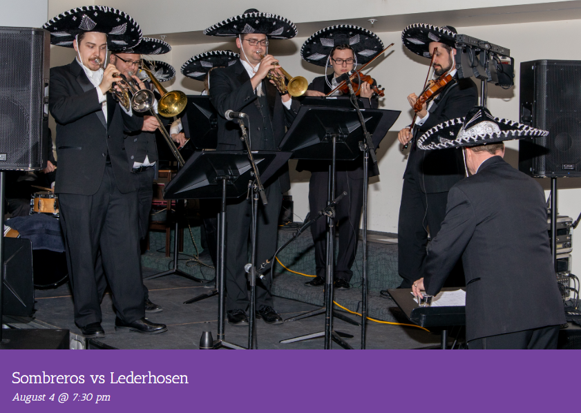 Mariachi band with black and silver sombreros at the Kentucky Symphony Orchestra