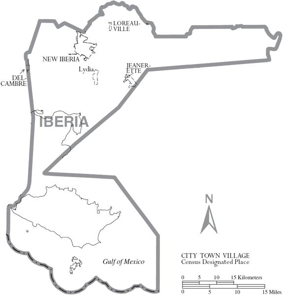 Map of Evangeline Parish, with municipal labels