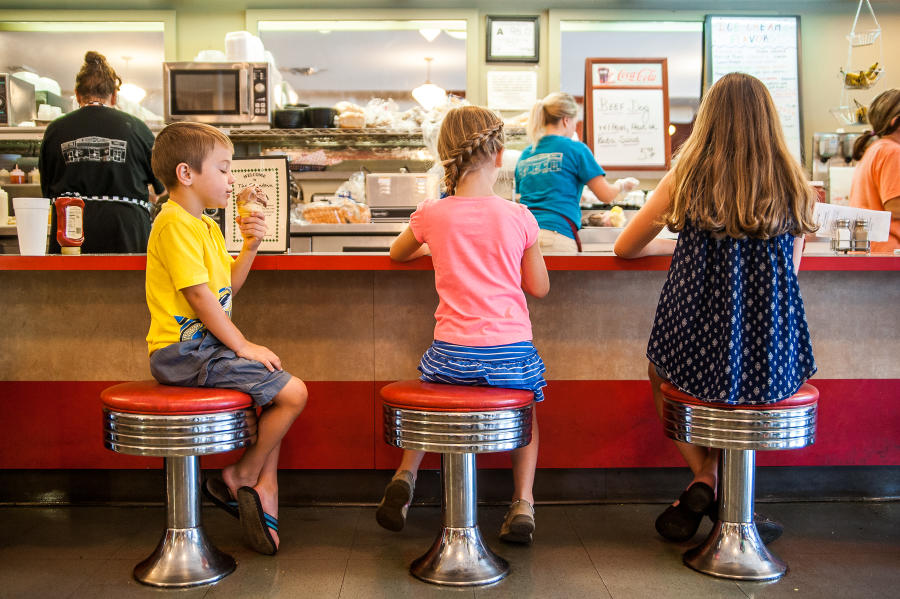 Kids Eating Ice Cream at Smith's Drug - The Fountain
