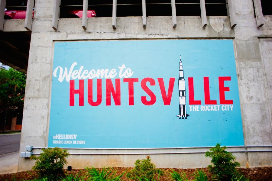 The Big Spring Park Huntsville Mural reads: Welcome to Huntsville.
