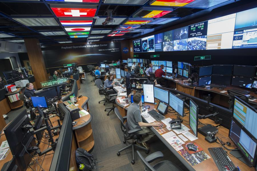 A picture of the Huntsville International Space Systems Payload Operation Integration Center offices.