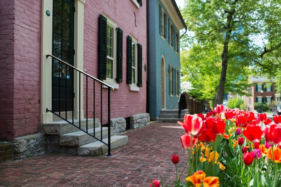 Gratz-Park-Pink-and-Blue-House-with-Tulips-medium