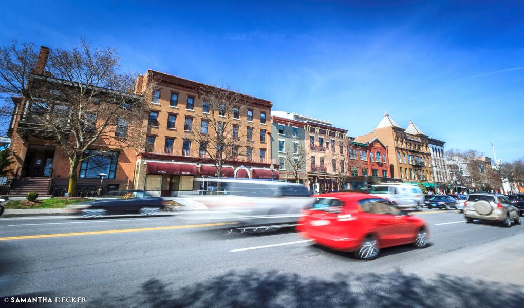 Cars driving through downtown Saratoga Springs