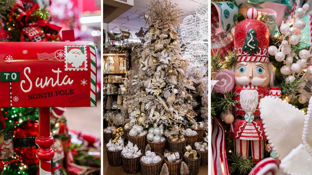 Photo collage from Decorator's Warehouse with Santa mailbox, Christmas tree and nutcracker