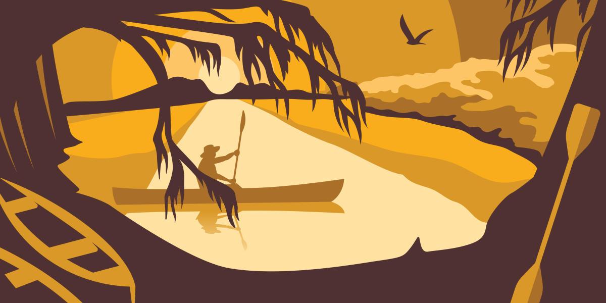 Vermilion Voyage art design with paddler