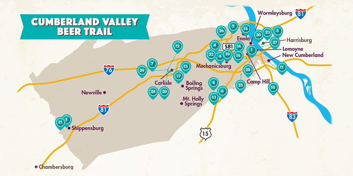Cumberland Valley Beer Trail Locations Map
