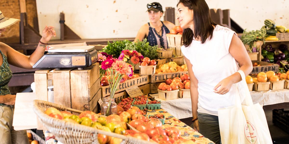 Woman shopping at the Farmers Market