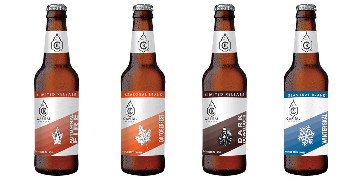 Four bottles of Capital Brewery beer