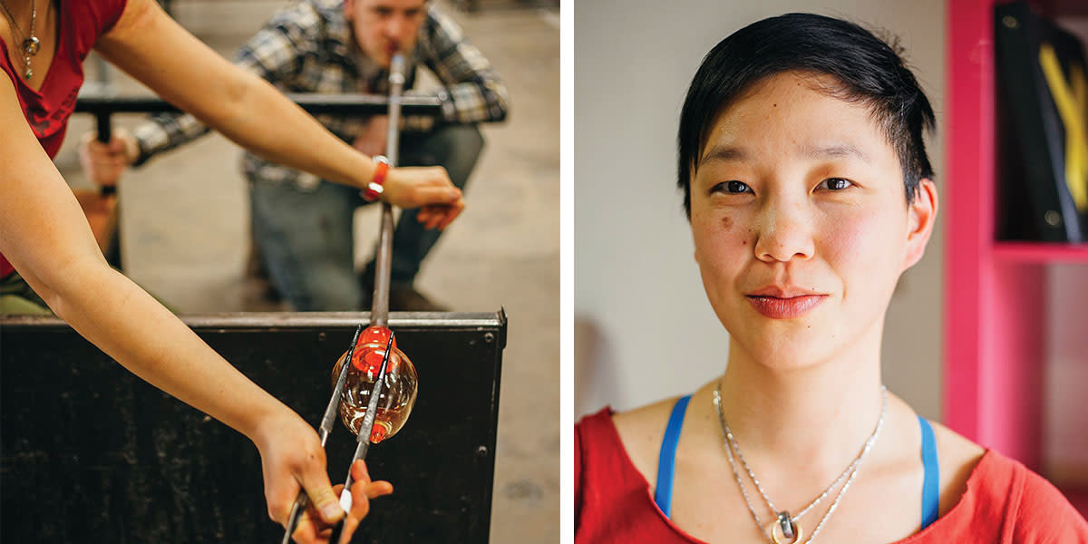 A headshot of Helen Lee alongside one of her glass blowings