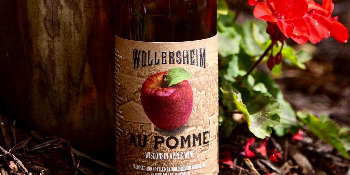 A bottle of Wollersheim Au Pomme wine