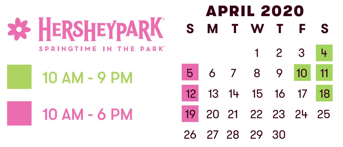 Hersheypark Springtime in the Park 2020 hours