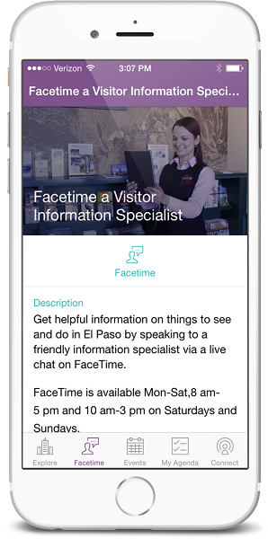 El Paso - Facetime within the mobile app