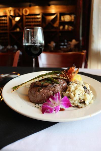 Steak Dinner with Wine at Nick's Ristorante