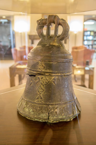 Photo of first bell to hang at the Alamo