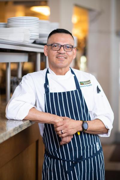 Chef Gerardo Naranjo at Dinah's Garden Poolside Restaurant