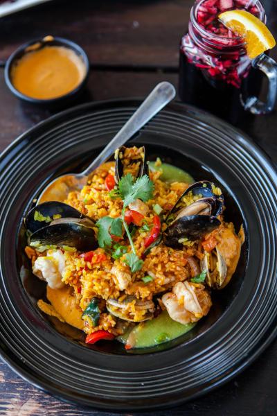 Arroz con Mariscos dish at La Viiga Seafood Restaurant in Redwood City, California
