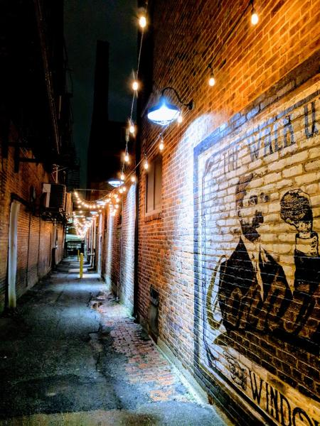 picture of alley with artwork on brick and strings of lights above where coppins at hotel covington offers a food window ky
