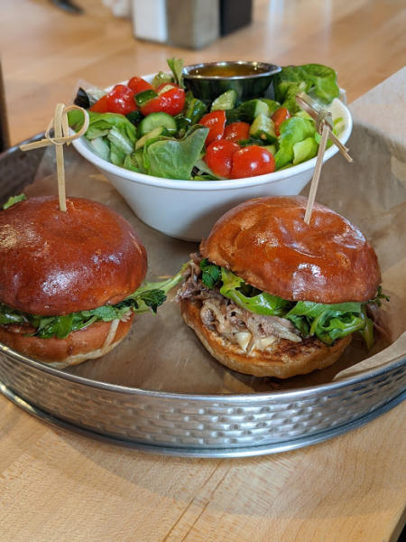 lamb sliders and side salad at the kitchen by butler's pantry in covington ky near the northern kentucky convention center
