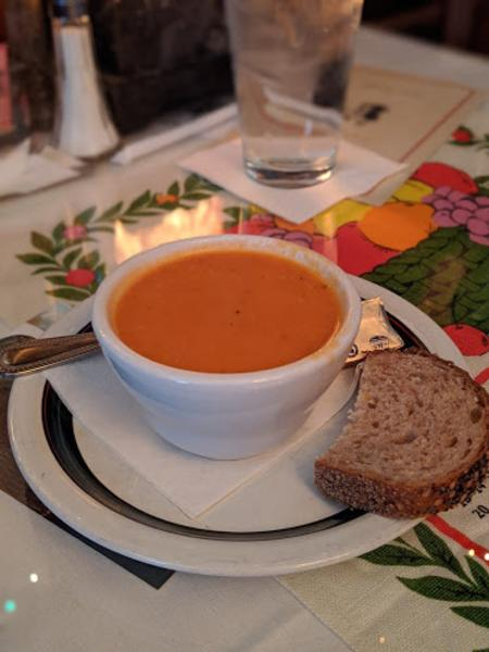 photo of a cup of tomato soup at york street cafe in newport ky