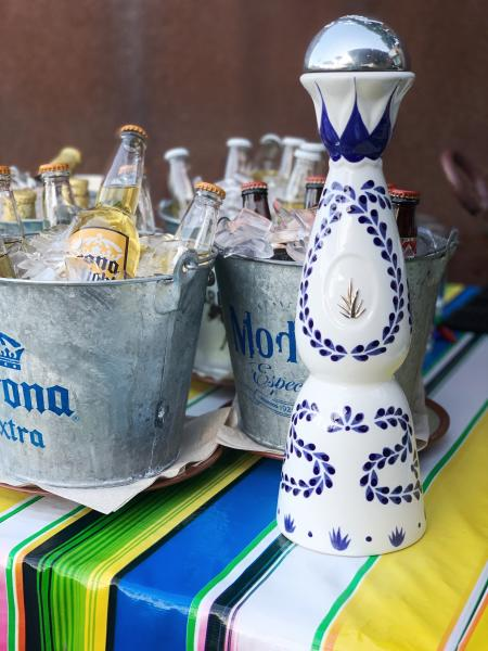 Beer and Tequila display at Sixtos Cantina in Burlingame, California