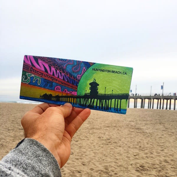 Sam's Huntington Beach postcards are a best-seller