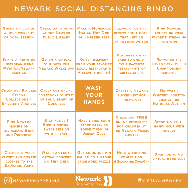 Newark Social Distancing - Bingo Card