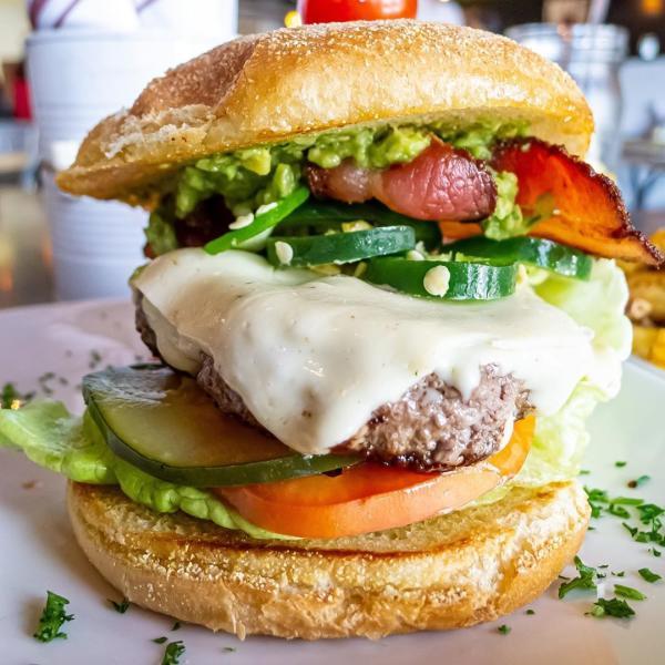 Delicious burger from Guru Burgers & Crepes.