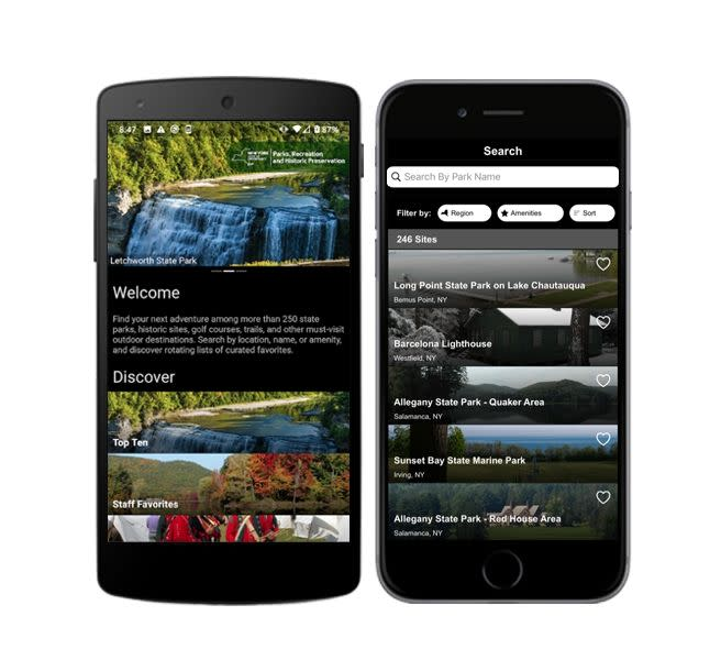 Phone screens showing pages from the New York State Parks app