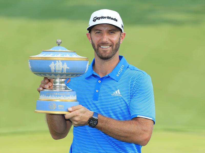 Dustin Johnson with WGC Dell Match Play 2017 trophy