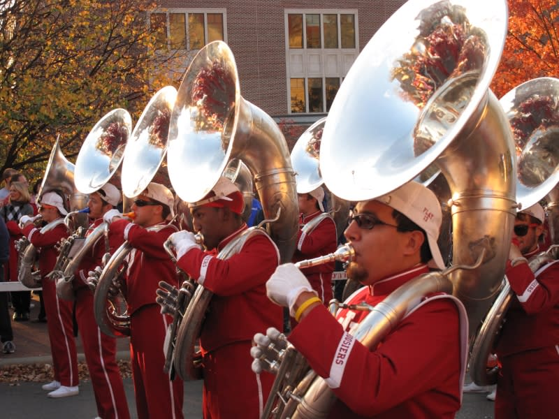 IU Marching Band during IU Homecoming Weekend