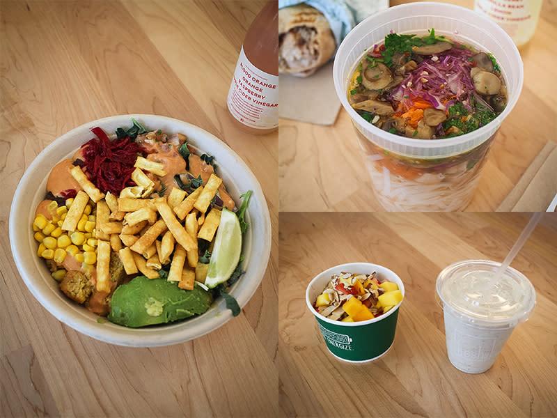 Freshii Oaxaca Bowl, Spicy Lemongrass Soup, and energy juice