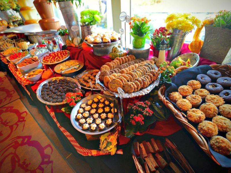 dessert platters on buffet table