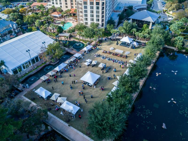 Aerial View of Wine Dine Jazz Event at Horseshoe Bay Resort near austin texas