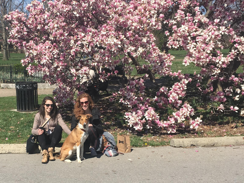 EC staffer Katie Suty and sister with dog Gracie at Goodale Park