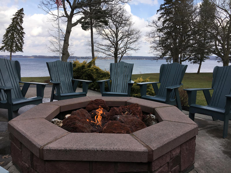 The Belhurst firepit overlooking Seneca Lake