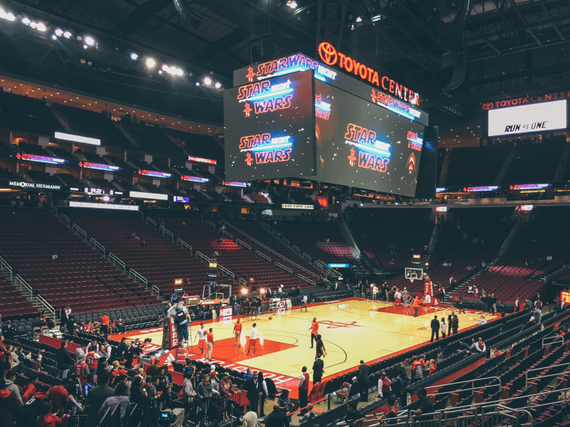 View of the basketball court in the Toyota Center in downtown Houston