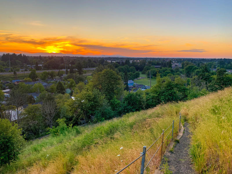 Sunset from Skinner Butte columns by Melanie Griffin