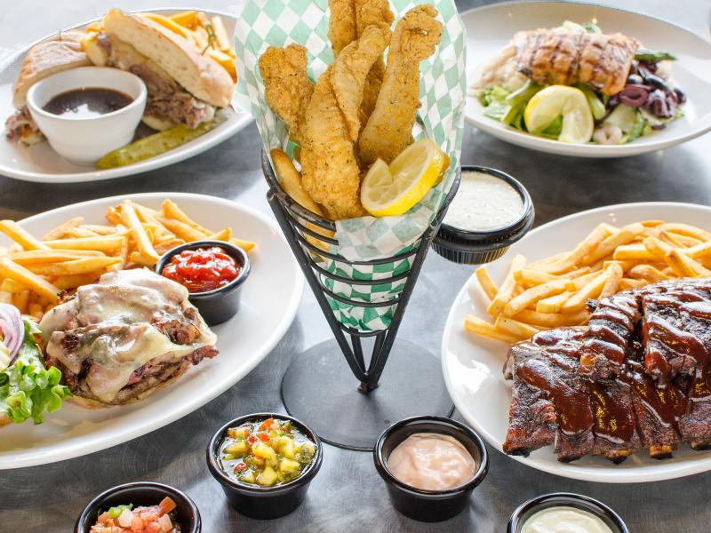 array of food laid out on table
