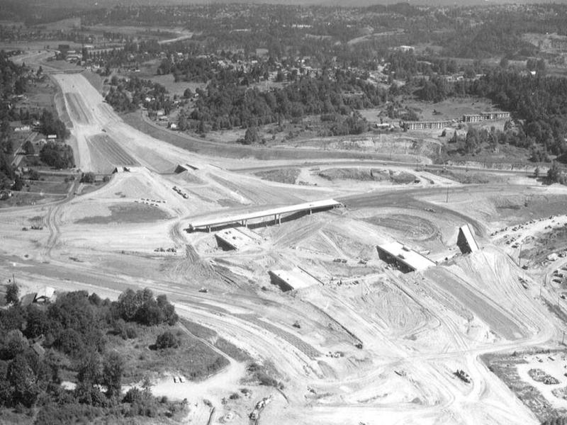 black and white aerial photo of highway construction
