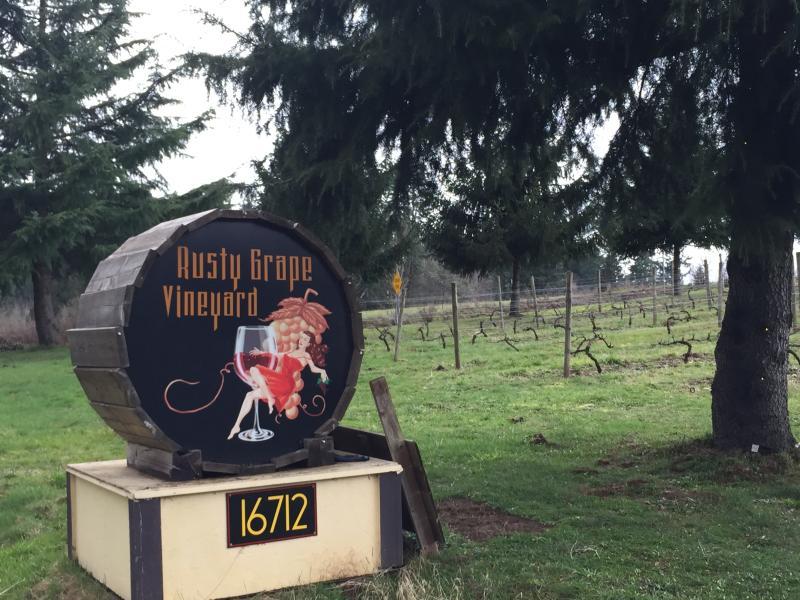 rusty grape sign