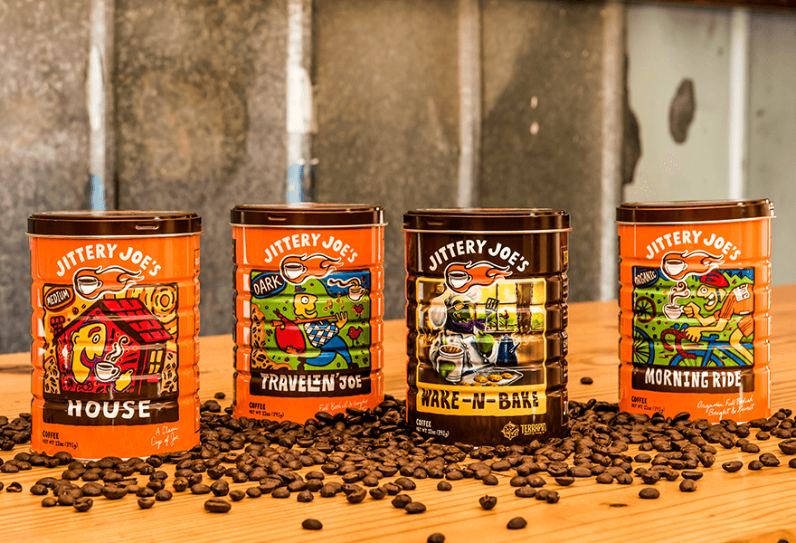 Jittery Joe's coffee cans beans