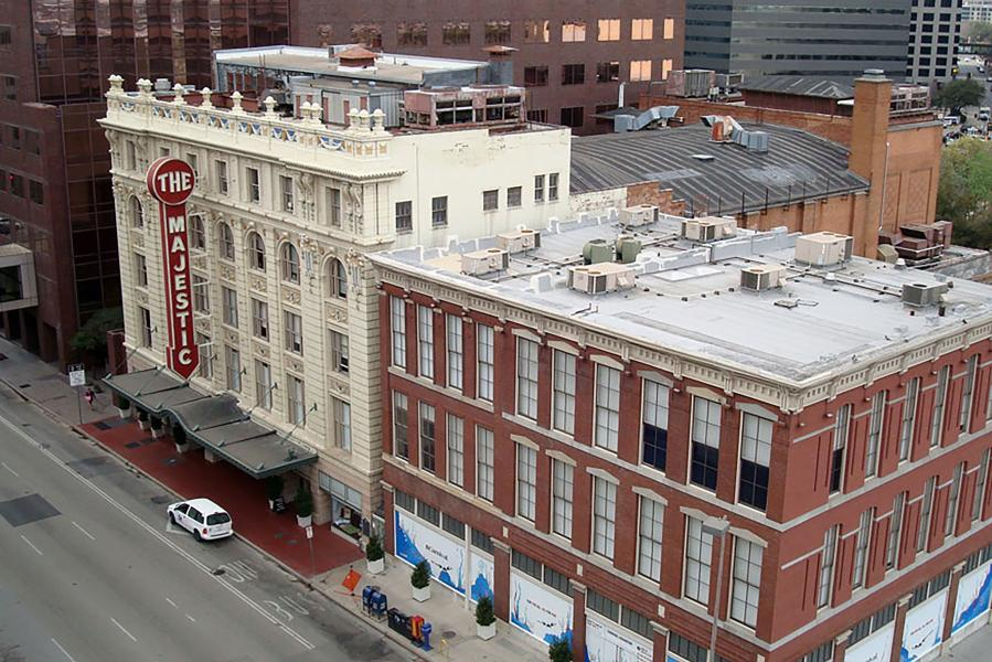 Aerial photo of exterior of The Majestic Theatre