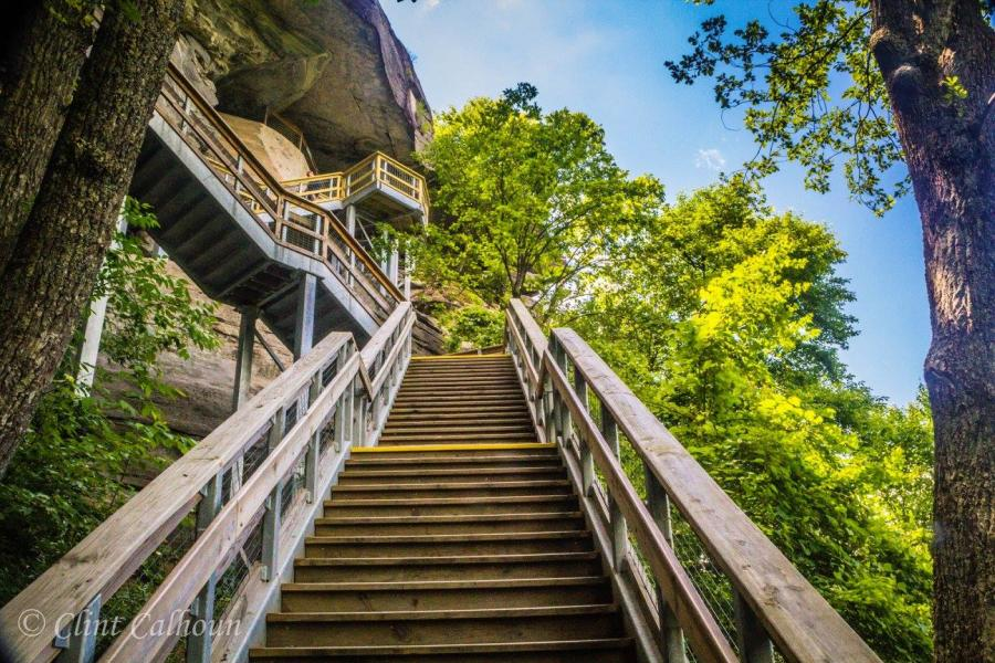 Stairs to the top of Chimney Rock at Chimney Rock State Park